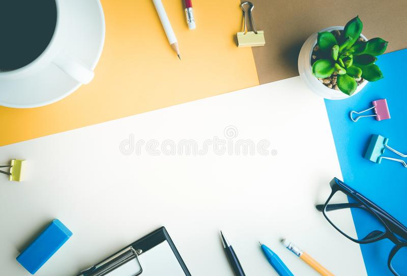 Desk office background with supplies.Coloful business table. Desk office background with supplies.Coloful of business working table with copy space stock photos