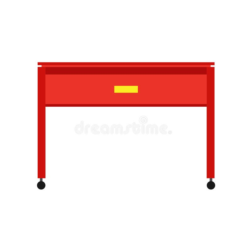 Desk office front view vector table. Business wooden workplace isolated flat icon vector illustration