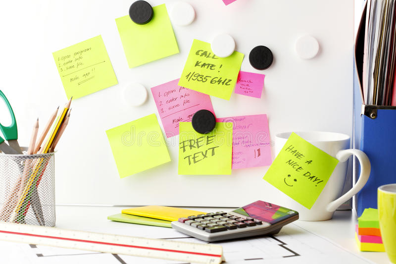 Download Desk with 'Post It' notes stock image. Image of paper - 31244081