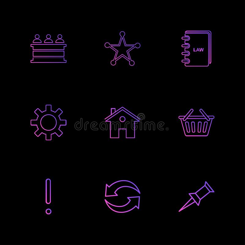 Desk , reception , star , book , gear , home, bowl , exclimination , reset, pin , eps icons set vector. Desk , reception , star , book , gear , home, bowl vector illustration