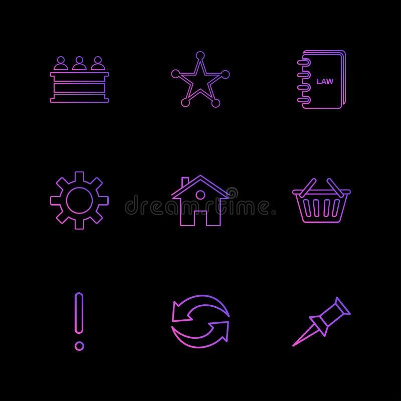 Desk , reception , star , book , gear , home, bowl , exclimination , reset, pin , eps icons set vector. Desk , reception , star , book , gear , home, bowl royalty free illustration
