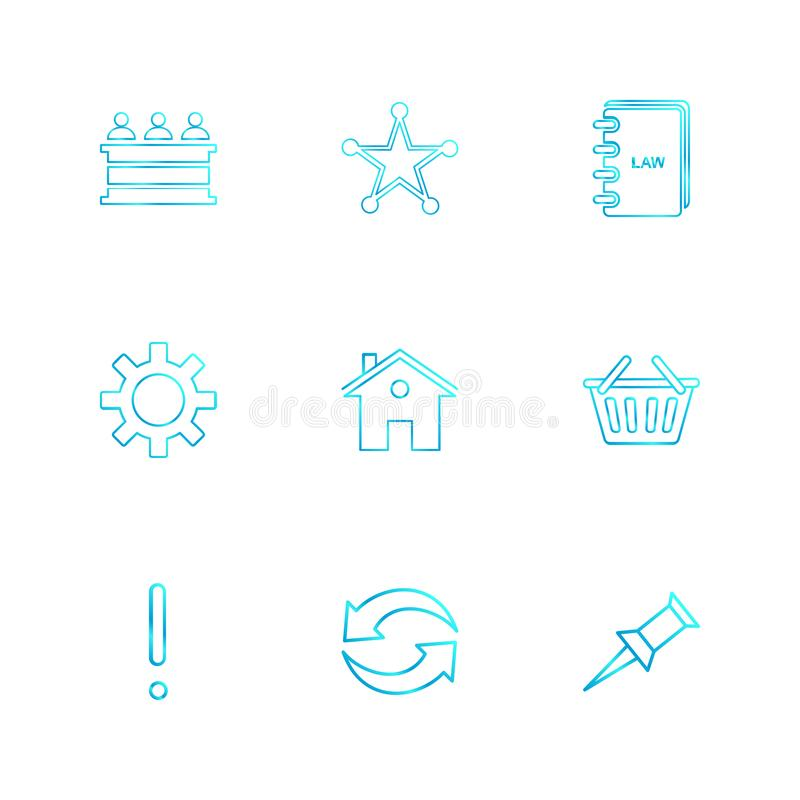 Desk , reception , star , book , gear , home, bowl , exclimination , reset, pin , eps icons set vector. Desk , reception , star , book , gear , home, bowl stock illustration
