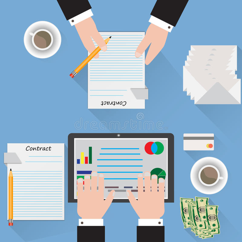 Desk signing a contract analyst blue background vector illustration