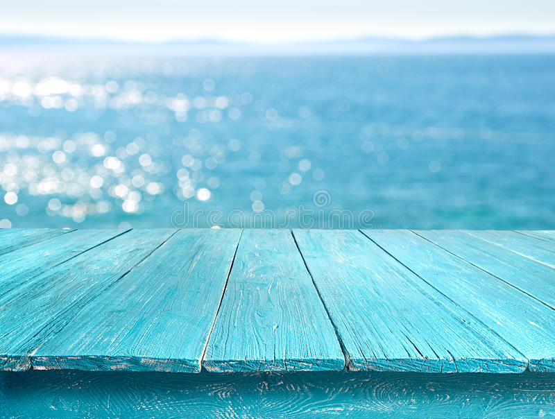 desk table against the sea royalty free stock photos