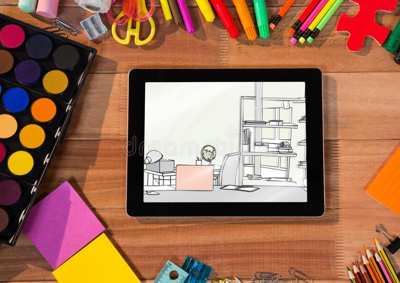 office drawing tools. Download Desk With Tablet And Drawing Tools. On The A Draw Of Office Tools C