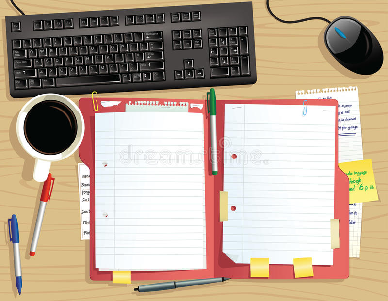 Desk top with document file. An image of a typical desk top, including open document file. Plenty of blank space for your messages. E.P.S. 10 vector file royalty free illustration