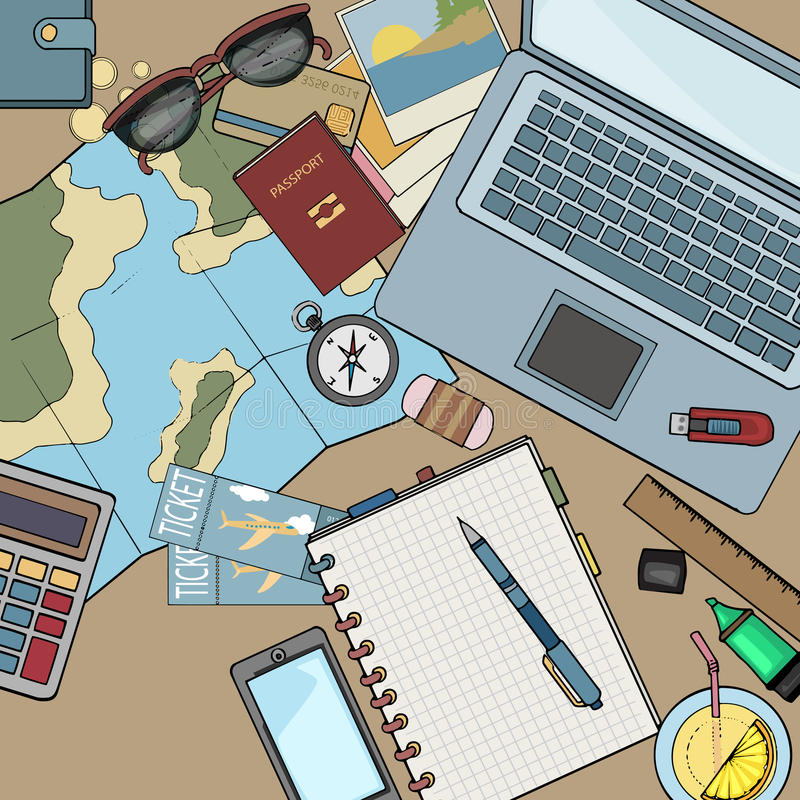 Desk top view filled with various items. Laptop, notebooks, organizing a holiday, travel concept, color illustration stock illustration