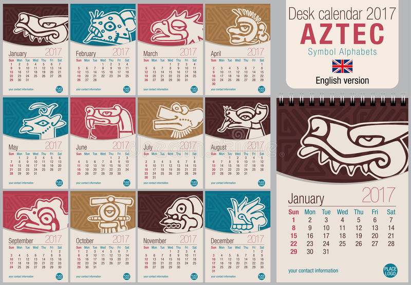 Desk Triangle Calendar 2017 Template With Aztec Symbols Design Size