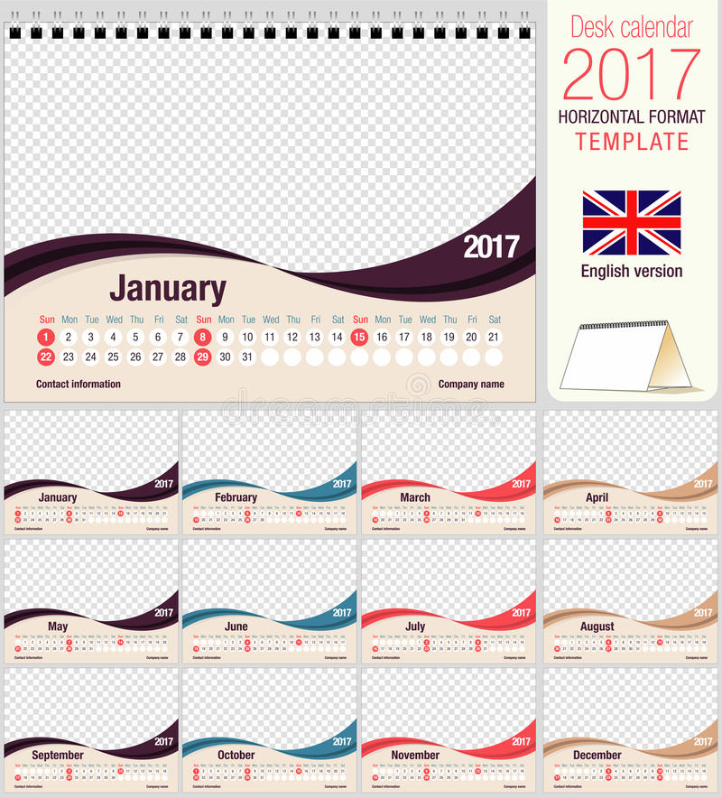 Desk Triangle Calendar 2017 Template Size 210mm X 150mm Format A5