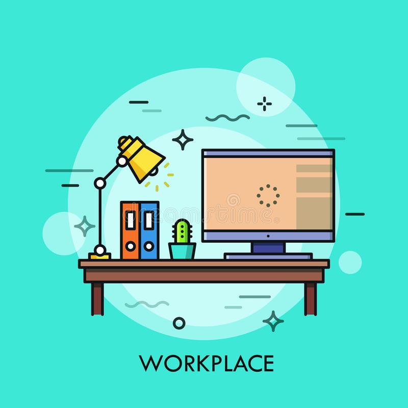 Free Desk With Personal Computer, Lamp, Paper Folders And Cactus In Pot Standing On It. Workplace, Work Surface, Home Office Royalty Free Stock Images - 109695399