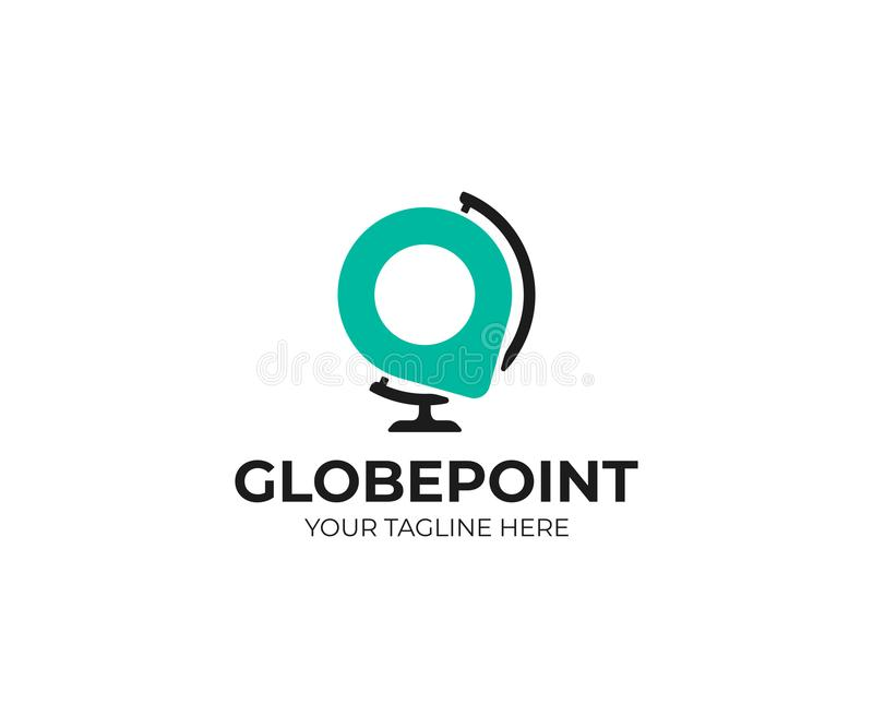 Desk world globe and pin point logo template. Desktop earth globe and location sign vector design royalty free illustration