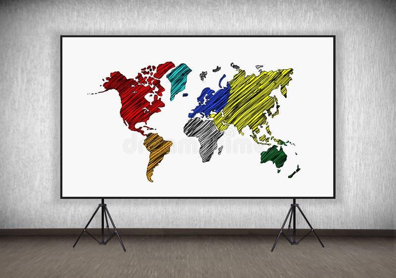 Desk with world map stock illustration