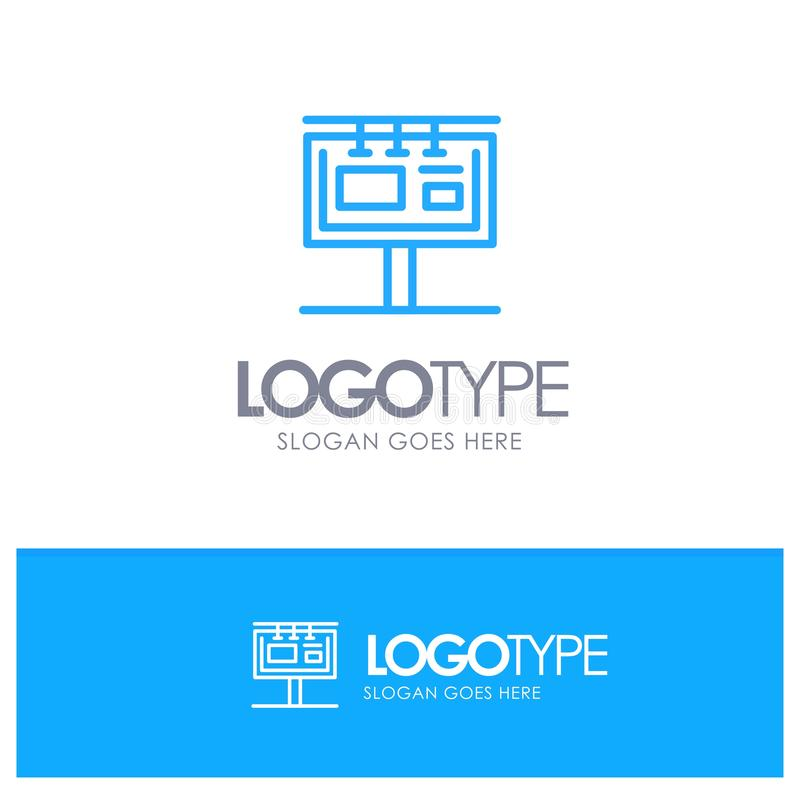 Deska, billboard, Signboard, reklama, Oznakuje Błękitnego konturu logo z miejscem dla tagline royalty ilustracja