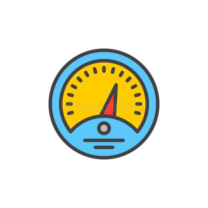 Deska rozdzielcza wypełniająca kontur ikona, kreskowy wektoru znak, płaski kolorowy piktogram Wymiernika symbol, logo ilustracja royalty ilustracja