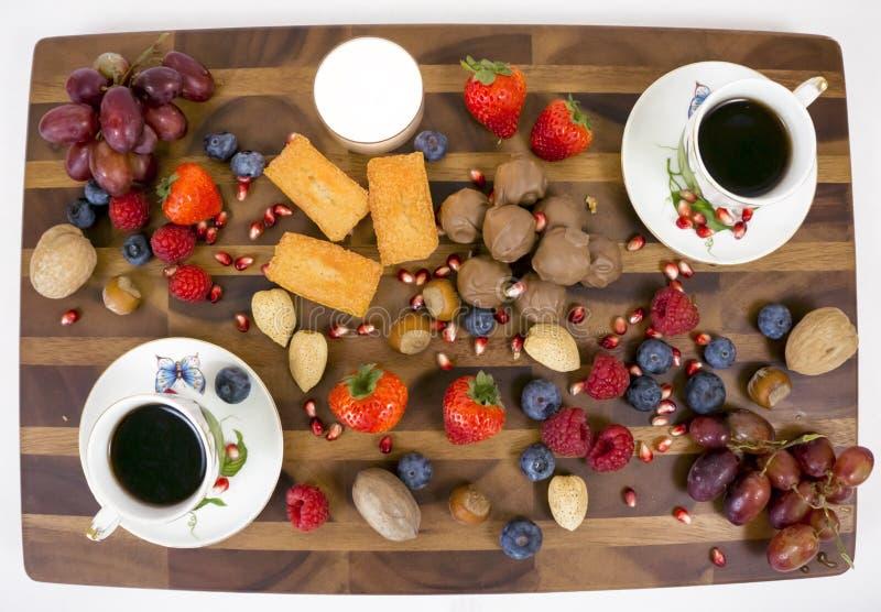 Deska z kawą i deserem obraz stock