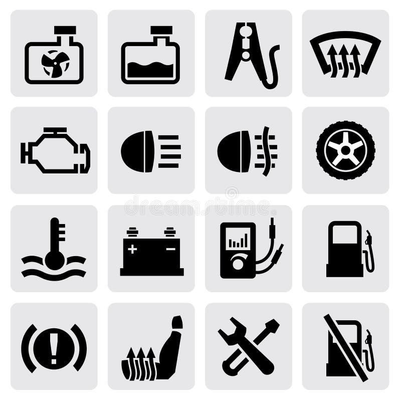 Deski rozdzielczej i samochodu ikony ilustracja wektor