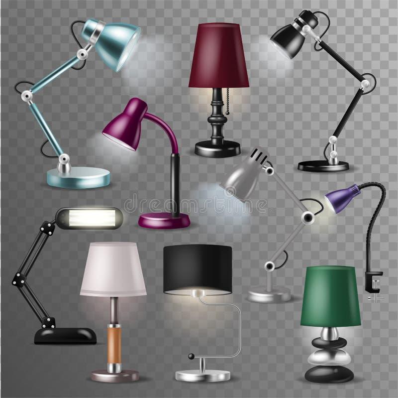 Desklamp de vecteur de lampe de Tableau et lecture-lampe réaliste pour la décoration électrique d'éclairage dans l'illustration d illustration de vecteur