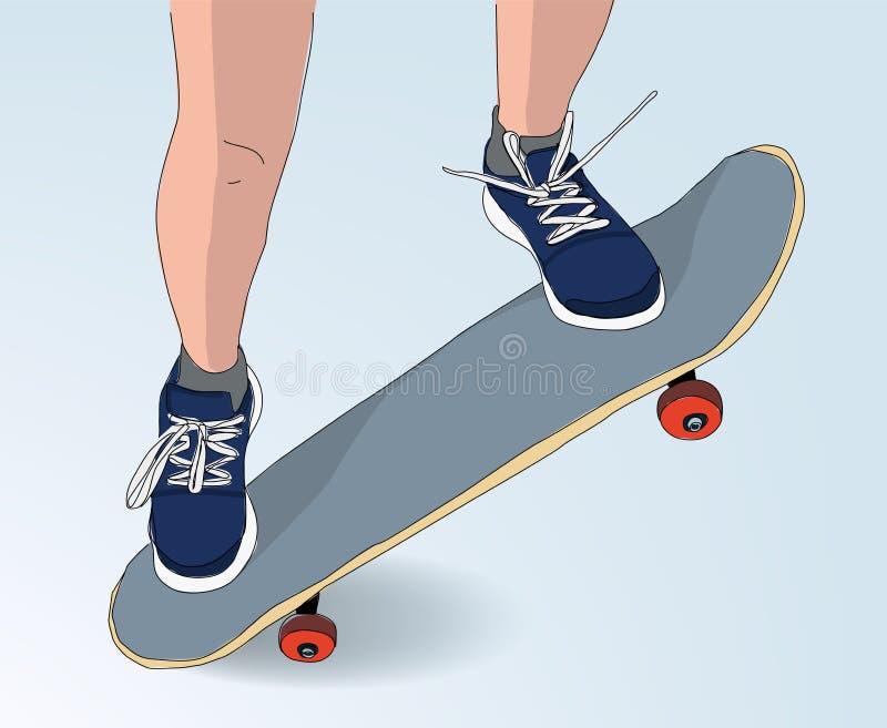 Deskorolka skoku ilustracja - rysować styl jeździć na deskorolce conce ilustracji