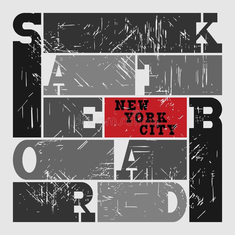 Deskorolka typografii grafika Poj?cie w grunge stylu dla druk produkci Koszulki mody projekt ilustracja wektor