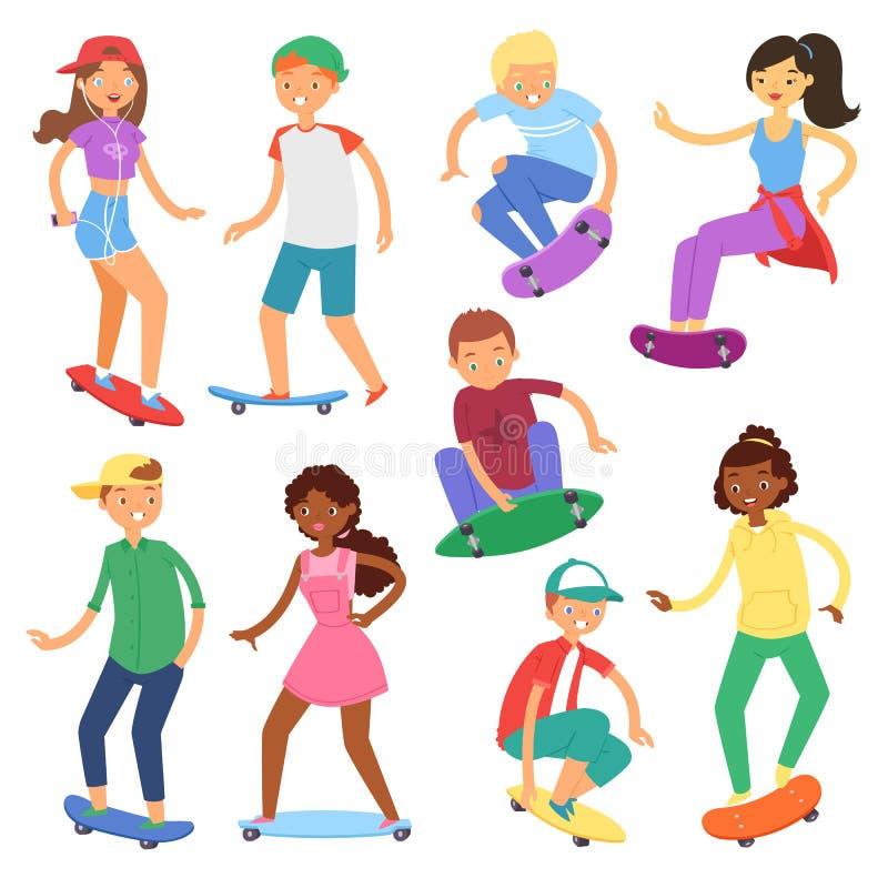Deskorolkarze na wektorowych jeździć na deskorolce charakterach lub nastolatek łyżwiarkach skacze na pokładzie wewnątrz deskorolk ilustracji