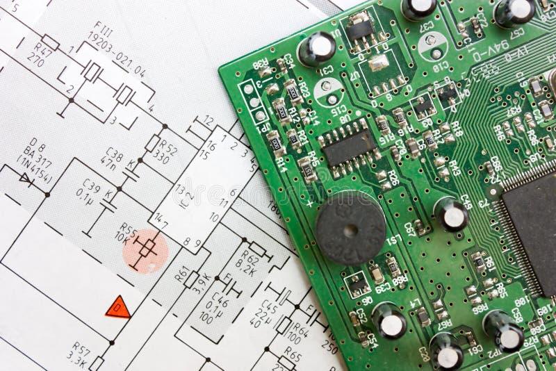 deskowego diagrama elektroniczny schematic fotografia stock
