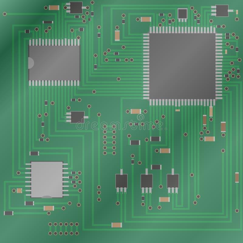 deskowego obwodu elektroniczny drukowany Elektroniki technologia Układ scalony, opór, tranzystor, opornik również zwrócić corel i royalty ilustracja