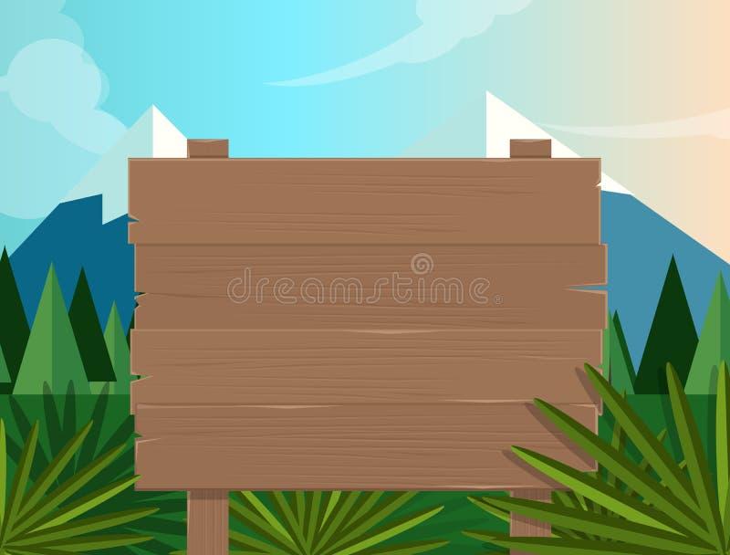 Deskowego szyldowego drewnianego lasowego dżungli tła kreskówki ilustracyjna wektorowa drzewna halna natura ilustracja wektor