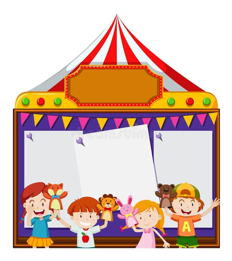 Deskowy szablon z dzieciakami bawić się kukły royalty ilustracja