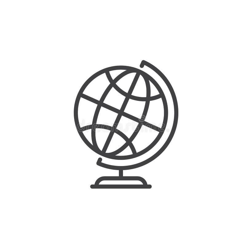 Desktop światu ziemi kuli ziemskiej linii ikona, konturu wektoru znak, liniowy stylowy piktogram odizolowywający na bielu royalty ilustracja