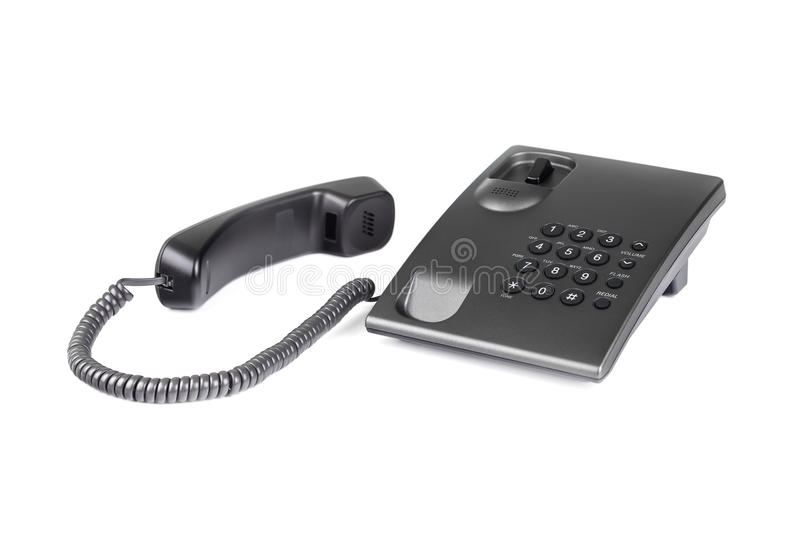 Desktop black phone with rounded buttons. Close-up. royalty free stock photos
