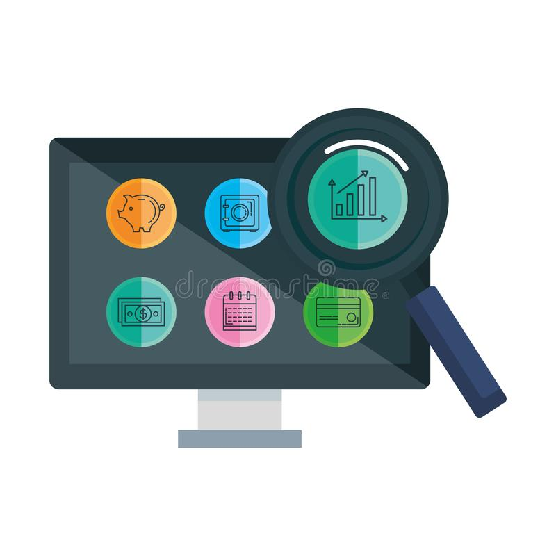 Desktop with business icons and magnifying glass. Vector illustration design royalty free illustration