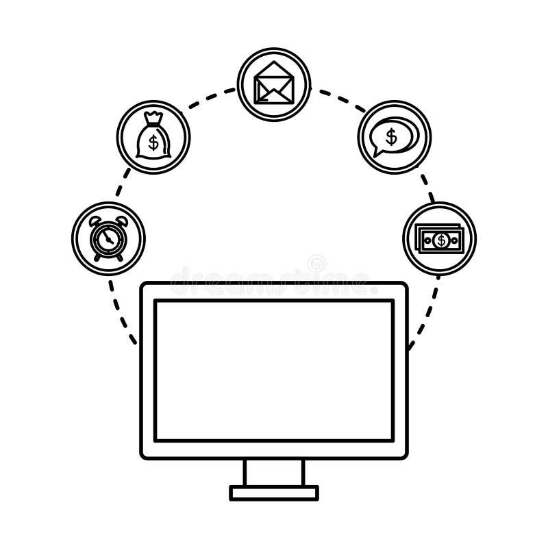 Desktop with business icons. Vector illustration design royalty free illustration