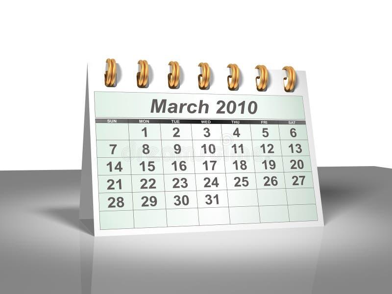 Desktop Calendar (3D). March, 2010. Stock Images