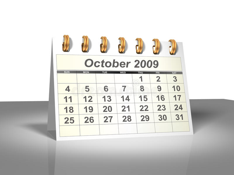 Download Desktop Calendar (3D). October, 2009. Royalty Free Stock Photo - Image: 9409355