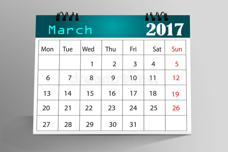 Desktop Calendar Design. March 2017 with nice Background royalty free stock photo