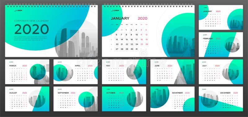 Desktop Calendar 2020 template for business stock image
