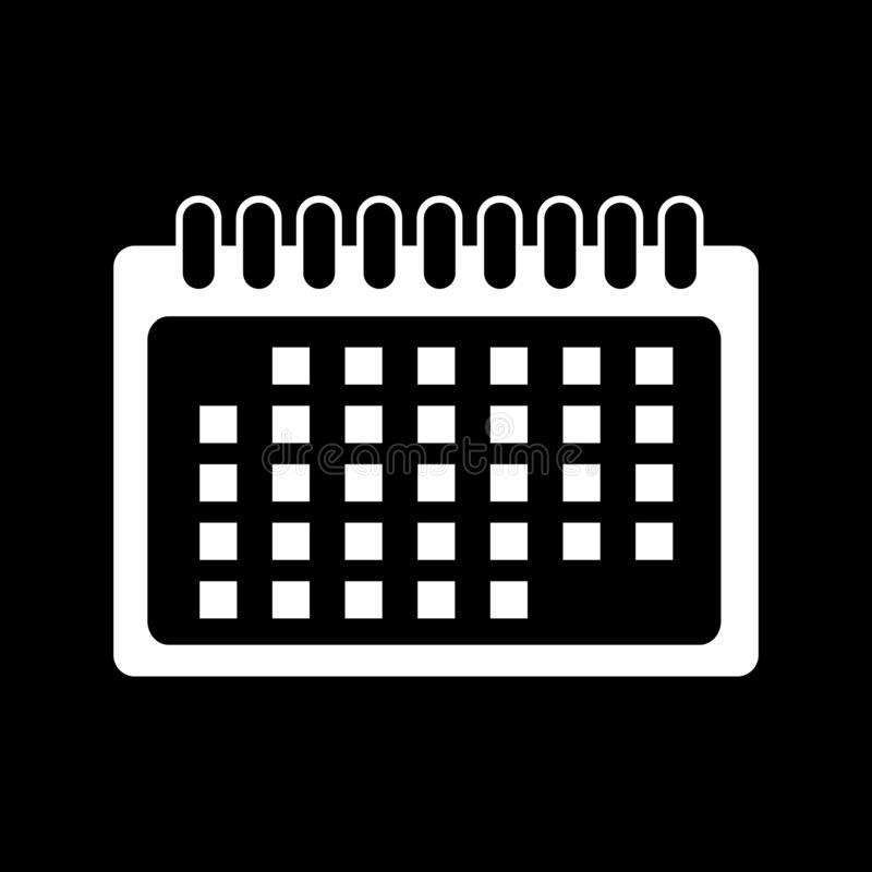 Desktop calendar for web icons and symbols on a black background. And flat royalty free illustration