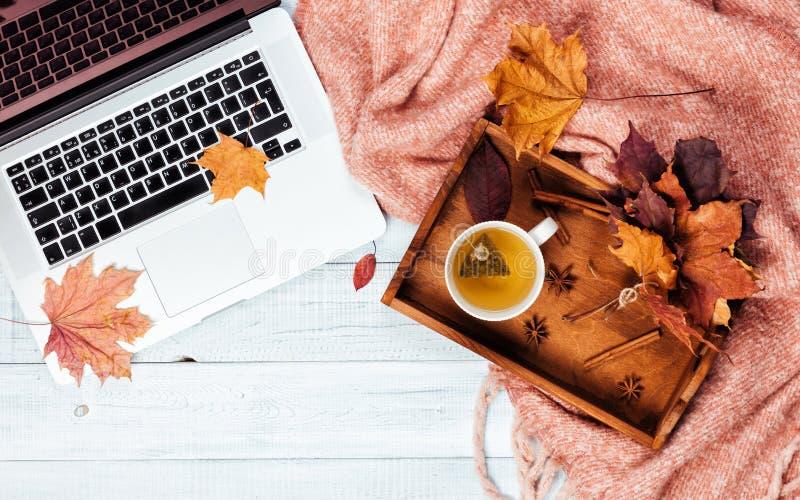 Desktop com um portátil, manta cor-de-rosa morna acolhedor do escritório domiciliário fotografia de stock