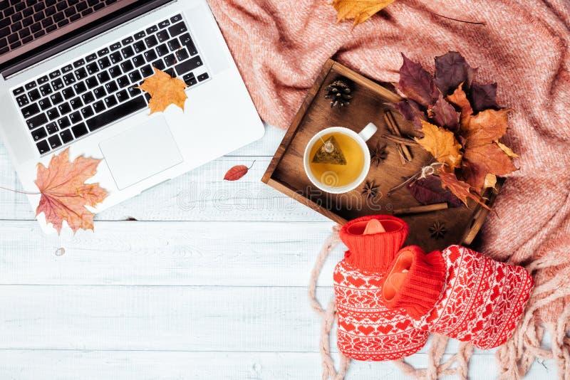 Desktop com um portátil, manta cor-de-rosa morna acolhedor do escritório domiciliário fotos de stock royalty free
