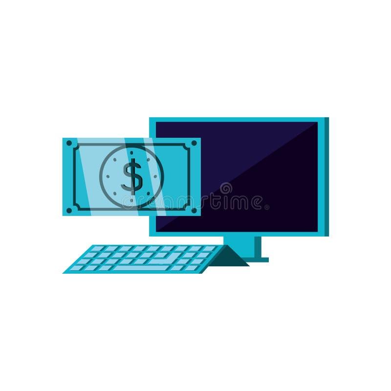 Desktop computer with bill dollar. Vector illustration design royalty free illustration