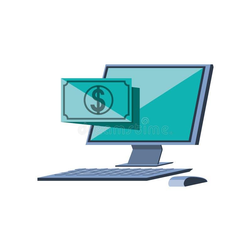 Desktop computer with bill dollar. Vector illustration design stock illustration