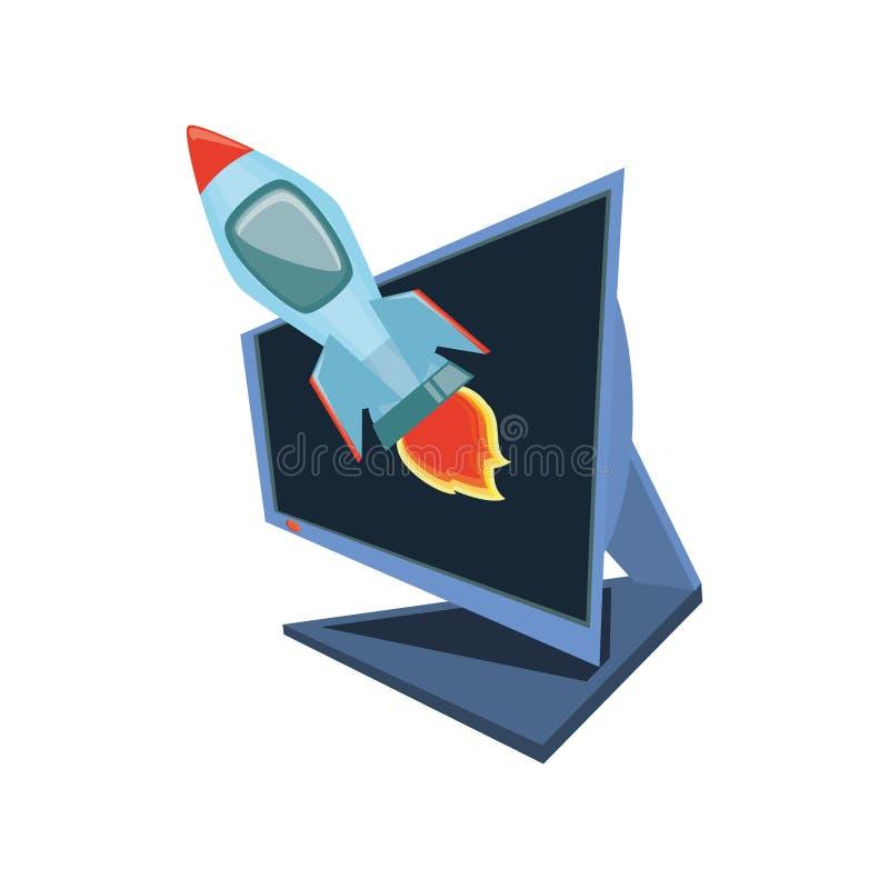 Desktop computer con il razzo illustrazione di stock