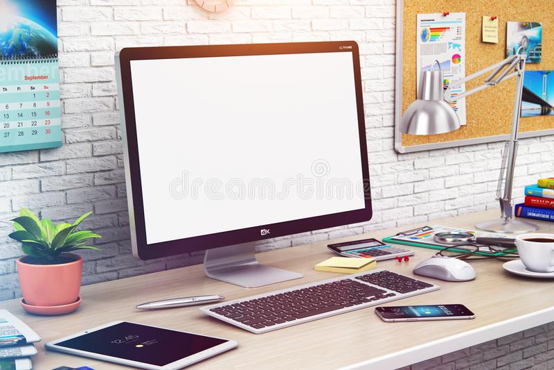 Desktop computer con lo schermo in bianco nell'area di lavoro moderna illustrazione di stock