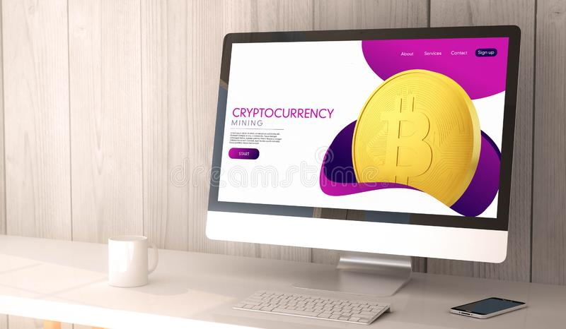 Desktop computer cryptocurrency website design. 3d rendering workspace with cryptocurrency on the screen of computer and smartphone. All screen graphics are made stock illustration