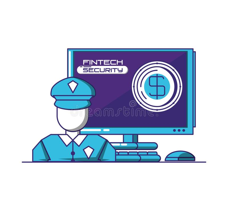 Desktop computer with financial technology security. Vector illustration design stock illustration