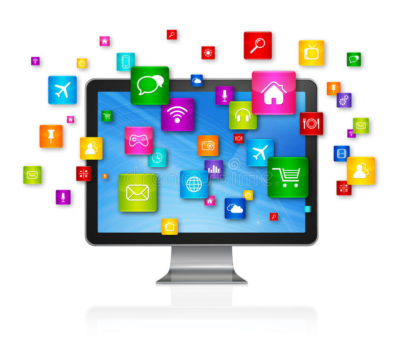 Desktop Computer and flying apps icons. 3D TV, Desktop Computer with flying apps icons - isolated on white royalty free illustration