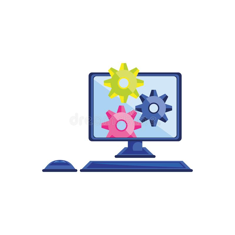 Desktop computer with gears configuration. Vector illustration design stock illustration