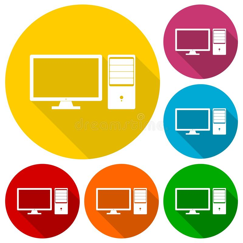 Desktop computer icons set with long shadow. Vector icon stock illustration