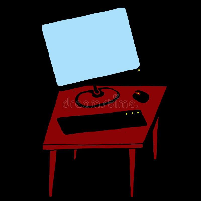 Desktop computer illustration. Red desk, blue monitor on black royalty free illustration