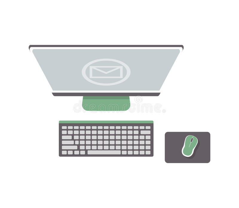 Desktop Computer Isolated Icon In Flat Design Stock Vector